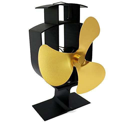 vimbhzlvigour Kaminofenventilator, großer Luftstrom, 3 Flügel, wärmebetrieben, Gas-Holz-Brenner, energiesparend gold - Whirlpool Kamin