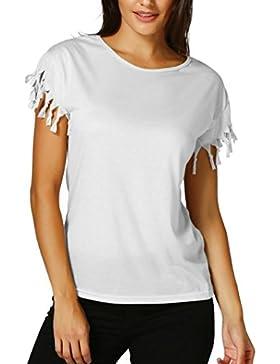 [Sponsorizzato]Camicetta nappa Colore puro Elegante Donna Rcool Camicia Manica corta Estate casuale sportivo gilet top T shirt
