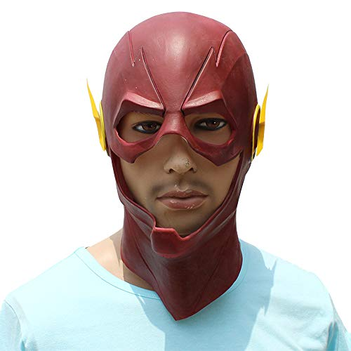 Die Flash-Maske aus Latex Red Cosplay vollen Kopf Masken Helm Halloween Karneval Requisiten Partei-Maskerade-Zubehör Kostüme,Red-OneSize