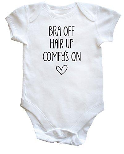 Hippowarehouse Bra Off, Hair up, Comfy's On Baby Vest Bodysuit (Short Sleeve) Boys Girls