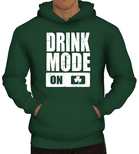 ShirtStreet Irland St. Patrick's Day Partner Gruppen Herren Kapuzenpullover Drink Mode On, Größe: XXL,dunkelgrün