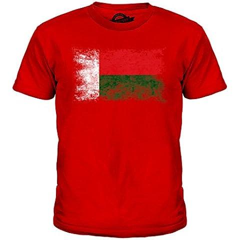 CandyMix Madagascar Bandiera Effetto Consumato Unisex Bambino Ragazzi/Ragazze T-Shirt