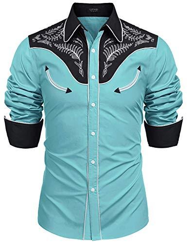 Coofandy Herren Western-Cowboy-gestickte Baumwolle Langarm Hemd xx-Large 1-blau -