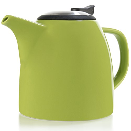 Fine China Teapot (Tealyra - Drago Keramik Teekanne - Ceramic Teapot Lime - 1100ml (4-6 cups) - Large Stylish Teapot - Stainless Steel Lid and Extra-Fine Infuser To Brew Loose Leaf Tea - Dishwasher-safe)