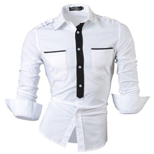 jeansian Herren Freizeit Hemden Shirt Tops Mode Langarmshirts Slim Fit 8328 White