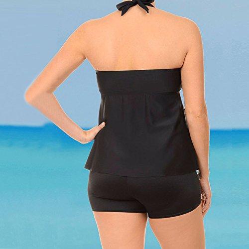 bd2028c6f8a9 ... Push Up Rembourse 2 pieces Bikini Grande Taille Maillot de Bain Femme  Shorty 2 Pièces Tankini Noir Maillot Bains Femmes Sport. New.