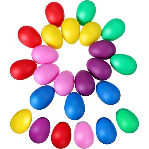 24 Stücke Egg Shaker Set Maracas Eier Musical Eier Ei Shakers Kunststoff Eier für Kinder Party Supplies Musical Spielzeug, 6 Farben Chicken-set