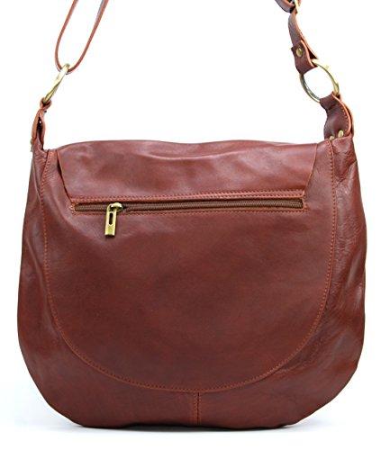 OH MY BAG Sac à Main en cuir souple femme porté bandoulière Modèle Perla (grand) Nouvelle collection MARRON MOYEN