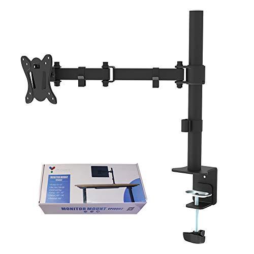Single LCD LED Monitor Stand Schreibtisch freistehend, Heavy Duty voll verstellbare Arme halten Bildschirme Ständer mit Klemmklemme und Durchstecktülle Optionen für Neigung, Schwenken, Drehen - Monitor Arm Freistehende