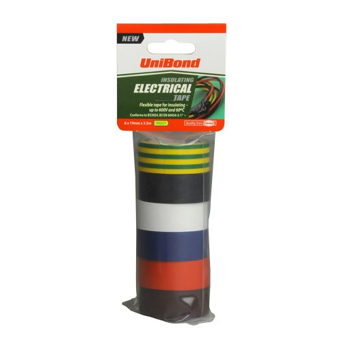 unibond-insulating-electrical-tape-multi-19-mm-x-35-m-pack-of-6