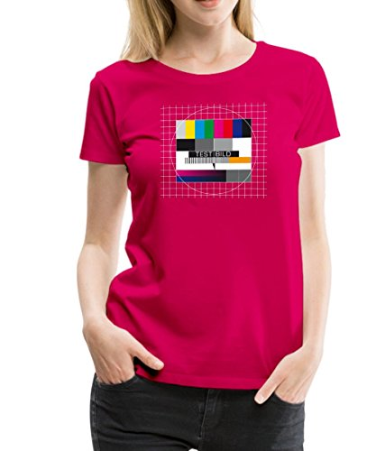 Spreadshirt TV Testbild Fernseher Retro Frauen Premium T-Shirt, XXL, dunkles Pink (Nerds T-shirt Mädchen)