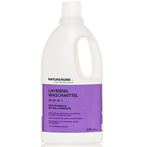 Natürliche Waschmittel (NATUREHOME Bio-Waschmittel flüssig ideal für Weiß- & Buntwäsche I VEGAN I Color-Waschmittel mit natürlichem Lavendel-Duft I 2,0L)