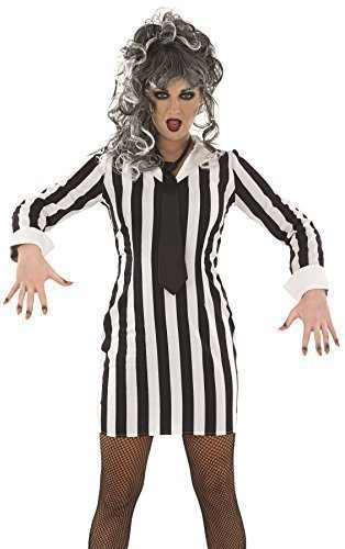 Damen Sexy Schwarz Weiß Beetlejuice Halloween Film Kostüm Kleid Outfit 8-22 Übergröße - Schwarz/weiß, 8-10 (Damen Beetlejuice Kostüme)