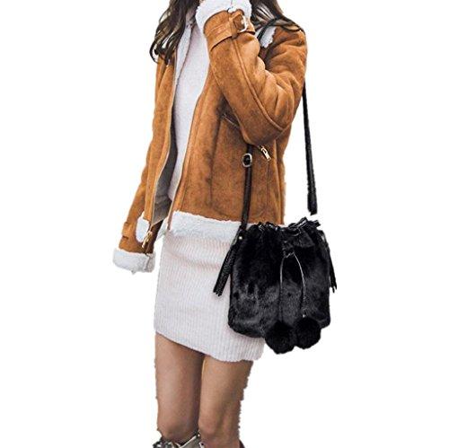 Vovotrade Fille Pretty Mignon Sac à Main en Peluche Sac à Bandoulière Messenger Bag Sac à Bandoulière Noir