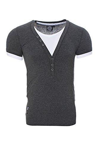 Carisma Herren 2in1 V-Ausschnitt T-Shirt Schwarz grau marine weiß gelb Anthrazit T202 Anthrazit
