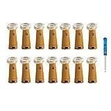 Paquet de 14 lumières de bouteille, forme en liège de Vansoon 20 micro LEDs 2M guirlandes lumineuses avec tournevis décoration de bouteille de vin en verre lumières de bricolage pour la fête (blanc)