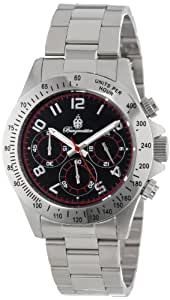 Burgmeister Men's Houston Chronograph Stainless Steel Bracelet Watch BM212-121A With Black/Red Dial 24H Tachymeter