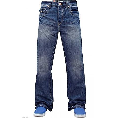 Enzo Mens Nouveau Concepteur Bootcut Jeans Denim Lightwash W32-