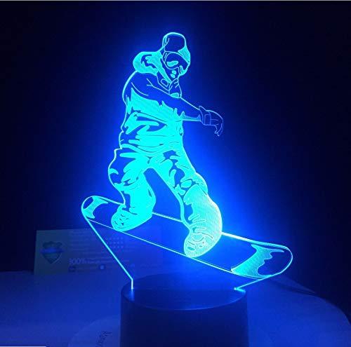 Snowboard Lámpara Led 7 Colores Cambiantes Ilusión 3D Lámpara De Noche Acrílico Usb Mesa De Escritorio Luces Mejores Regalos Para Deportes Dropshipping ·
