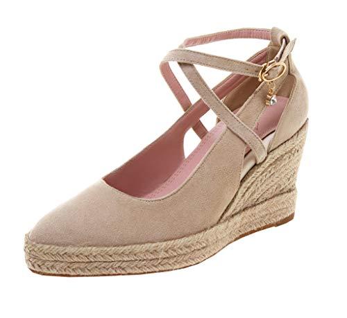 Ankle Strap High Wedge (KIKIVA Damen Wedges Keilabsatz Ankle Strap High Heels Pumps mit Kreuzschnalle und Plateau Riemchen Schuhe (Beige, 38))