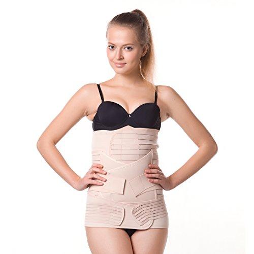 CYUURO Damen Bauchbinder, nach der Geburt verstellbar, elastisch - Pink - X-Groß - Bindemittel Für Bauch Frauen Xl