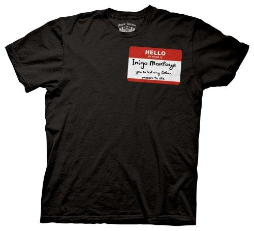 ello My Name Is Inigo Montoya Badge Schwarz T-Shirt Tee (XX-Large) ()