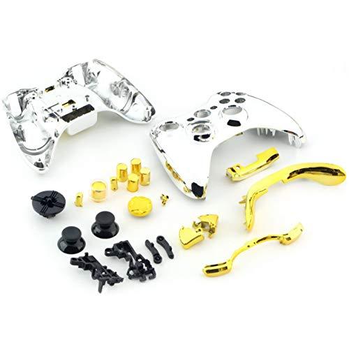 Tree-on-Life Chrom-Silber-modifiziertes Full-Shell-Gehäuse mit Gold-Vollgoldknöpfen fügt Zubehör für den Xbox 360 Wireless Controller hinzu (360-controller Xbox Shell Und)