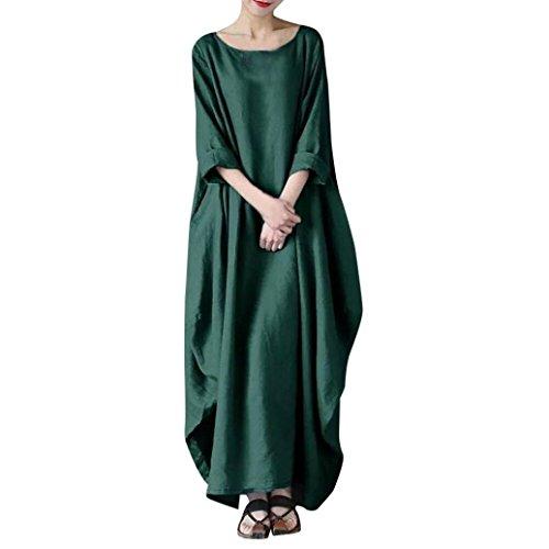 Amphia Damen Beiläufige Lose Kleid Langarm Baumwolle Boho Maxi Kleid,Damen Übergroße Retro Casual...