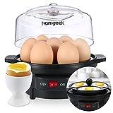 Homgeek Cuiseur à œufs Électrique, multi-fonctions pour oeufs bouillis, oeufs cuits à la vapeur et oeufs pochés, degré de dureté réglable, Pour 7 œufs, Noir
