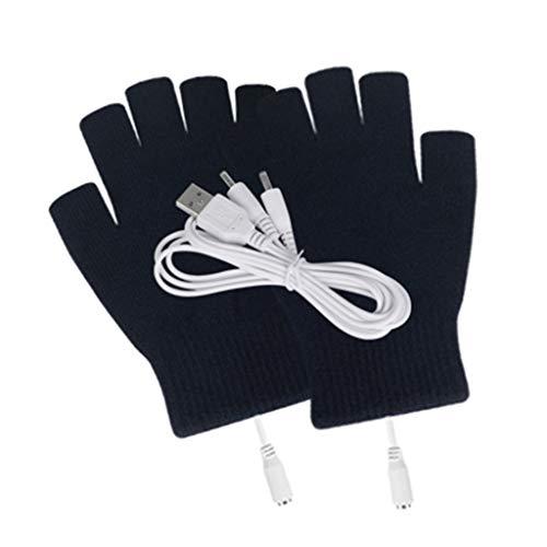qingqingR Frauen Männer USB Powered Fingerless beheizte Handschuhe Waschbar Gestrickte Streifen Computer Cabrio Handschuhe Winter Outdoor Handwärmer