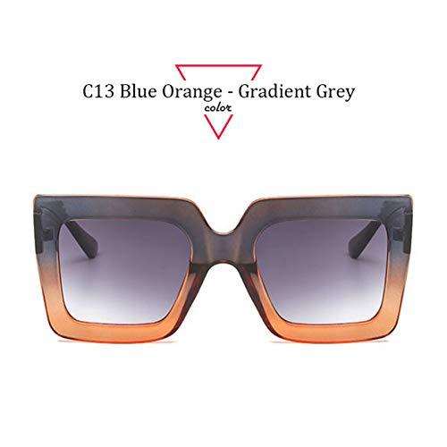 Kjwsbb Fashion Square Sonnenbrille Frauen Double Color Big Frame Vintage Brillen für Frauen