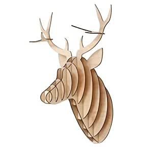 plywood trophy deer stag head natural wood wall decor kitchen home. Black Bedroom Furniture Sets. Home Design Ideas