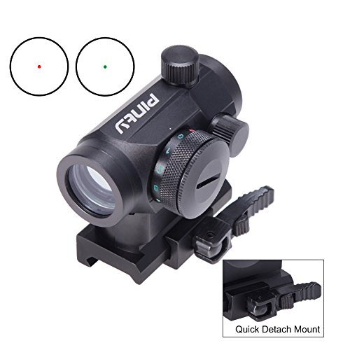 1 Sight Red Dot Moa (Pinty Taktische Reflex Red Rot Grün Punkt Sight Zielfernrohr mit Schnellverschluss 20mm Montieren Schienen und Objektivdeckel Obj. 22mm)