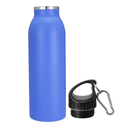 KING DO WAY 20oz/600ML 8 Farbe Edelstahlflasche mit Karabiner und Sport Cap Classic | Trinkflasche Thermosflasche Wasserflasche aus 18/403 Edelstahl | Auslaufsichere Vakuum-isolierte Sportflasche BPA Frei | Dunkelblau - 3