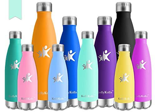 KollyKolla Vakuum Isolierte Edelstahl Trinkflasche, 350ml BPA Frei Wasserflasche Auslaufsicher, Thermosflasche für Sport, Outdoor, Fitness, Kinder, Schule, Kleinkinder, Kindergarten (Macaron Grün)