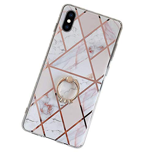 Herbests Kompatibel mit iPhone XR Hülle Handyhülle Glänzend Glitzer Bling Marmor Muster Silikon Schutzhülle Soft Stoßfest Handytasche mit Diamant Ring Halter Ständer,Rosa Weiß