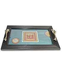 VarEesha Hand Painted Acrylic framed Blue Tray- For Kitchen/ Dinning/ Serving Trays/ Wooden Trays