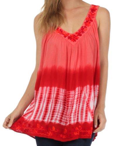 Sakkas 725 Ombre Tie Dye Gauzy Crepe ärmellos entspannt Fit Top / Bluse - Coral / One Size