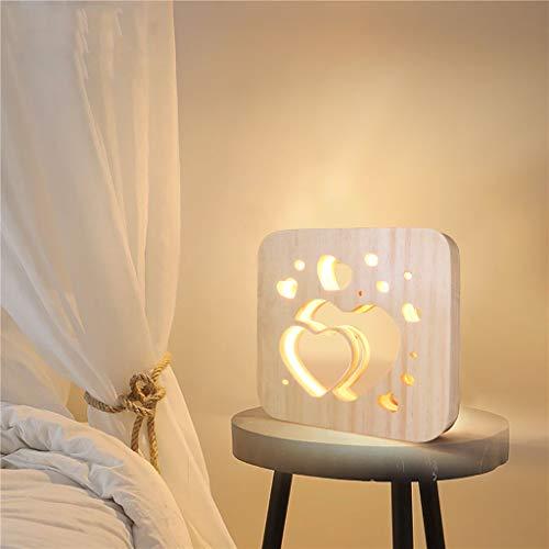 bloatboy Kreative Nachtlicht, Holz LED Tischlampe Handwerk Licht Nachtlicht Arbeitszimmer Nachtlicht USB Wiederaufladbares Nachtlichter Dekoleuchte für Schlafzimmer,Cafe, Bar als Geschenk (B)