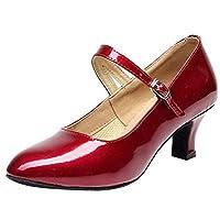Lazzboy Dance Shoes Mid-High Heel Patent Leather Glossy Women Ladies Buckle Ballroom Latin Tango Rumba