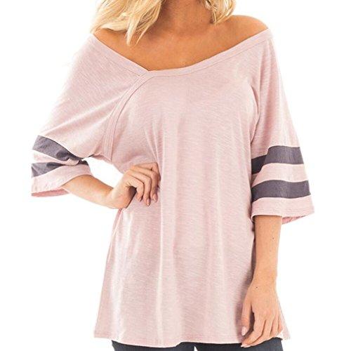 Kanpola Blusen Damen Große Größen V-Ausschnitt Halbe Hülse Locker Beiläufiges T-Shirt (XL, Rosa) (Kleid Langarm Ralph Lauren Shirt)