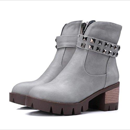 2015 bottes de tubes basse avec cuir épais avec fermeture à glissière Martin bottes femmes bottes, Brown 36