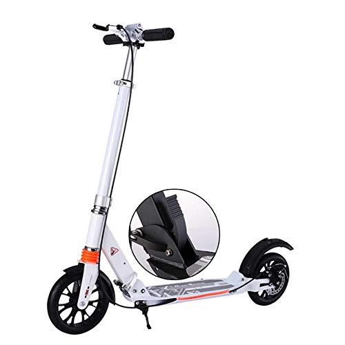 Erwachsene Kick-Roller Unisex, Scheibenbremsen Faltbare Pendler Big Wheels Geburtstagsgeschenke für Frauen/Männer/Jugendliche/Kinder bis 150 kg (Farbe : Weiß)