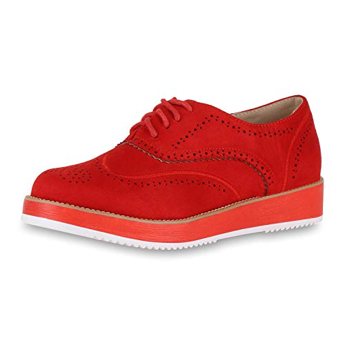 SCARPE VITA Damen Plateau Halbschuhe Brogues Wildleder-Optik Plateauschuhe 174707 Rot Weiss 39 - Wildleder Deck Shoes