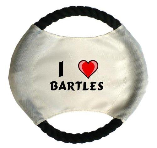 Personalisierter Hundefrisbee mit Aufschrift Ich liebe Bartles (Vorname/Zuname/Spitzname)