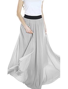 Urban GoCo Falda Larga de Mujer Plisada Cintura Alta Elegante Maxifalda de Playa Baile Fiesta