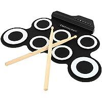Lzour Kit de batería electrónica Digital Roll up Drum Pads Instrumento de práctica Musical con 2