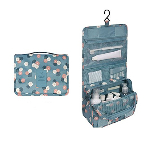 Freesoar Portable Hang Reise-Kulturbeutel Organisieren Kosmetik Frauen Make-up Outdoor-Kit mit Hängen Haken (blaue Blume) (Vera Bradley Mini)