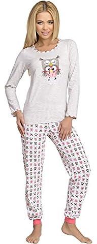 Merry Style Damen Schlafanzug 980 (Beige, M)