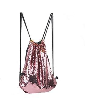 Tinksky Mode Glitter Bag Sackpack Pailletten Tunnelzug Rucksack (rosa)